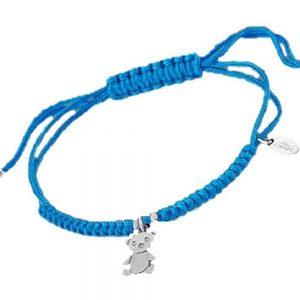 Bracciale Lotus Silver in Argento - in corda intrecciata di colore blu - Orsetto con strass e palline in argento - Regolabile. lp1606-2/5