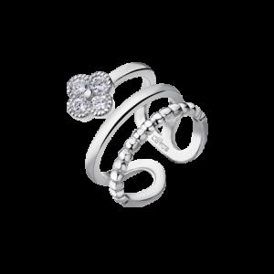 Anello Lotus Silver in Argento - Anello dalla forma originale e raffinata - Fiore con Zirconi ed Intreccio -Anello adatto a più misure. lp1612-3/1