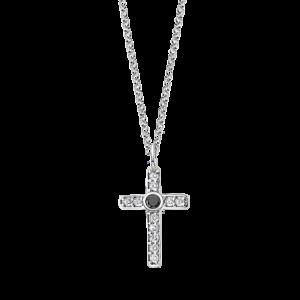 Collana in argento Lotus Silver - Croce Pendente con Strass e Pietra Nera lp1943-1/1
