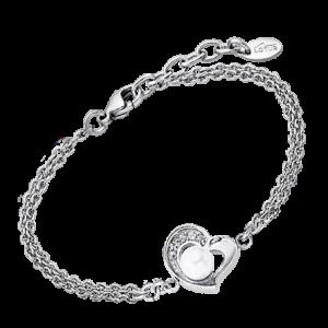 Bracciale Lotus Style in acciaio, con cuore e strass su un lato, e perla al centro. ls1993/2/1