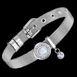 bracciale lotus style in acciaio maglia milanocon cerchio in madreperla e strass ls2086/2/3
