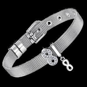 Bracciale Lotus Style in acciaio, maglia milano con simbolo infinito con strass e simbolo infinito piccolo pendente. LS2086/2/4