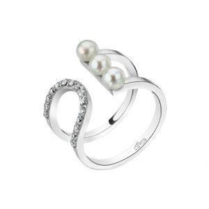 Anello Lotus Silver in Argento - forma originale e raffinata - Perle bianche e zirconi bianchi incastonati - Anello adatto a più misure. lp1619-3/1