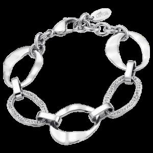 Bracciale Lotus Style in acciaio, con catena irregolare e strass su due anelli