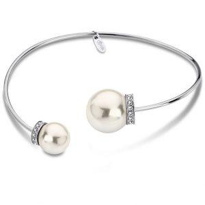 bracciale lotus style in acciaio rigido con strass bianchi e perle ls1824/2/1