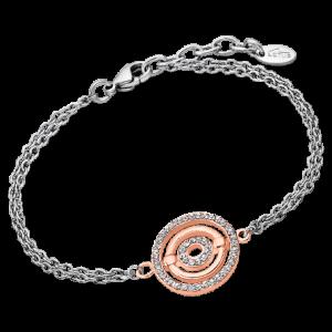 Bracciale Lotus Style in acciaio, con cerchi in acciaio rosati e strass bianchi ls1950/2/2