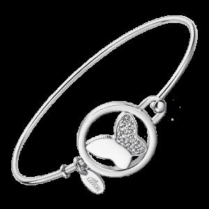 Bracciale donna lotus style - In acciaio con cerchio e farfalla all'interno e strass LS2014/2/2