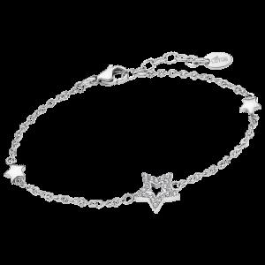 Bracciale Lotus Style in acciaio, con stella e strass e due stelline piccole. ls2028/2/1