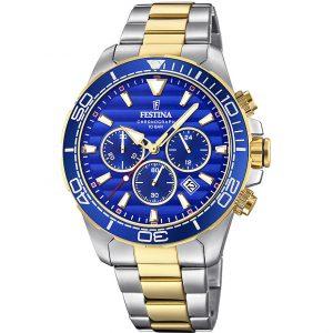 orologio festina uomo chrono bicolore e quadrante blu f20363/2
