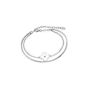 Bracciale Lotus Silver in Argento - rigido con catenina - Quadrifoglio con Zircone Centrale - regolabile con chiusura moschettone lp1738-2/1