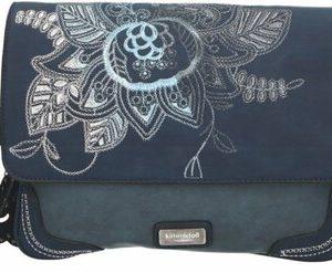 Borsa Kimmidoll Collection blu - fiori ricamati - tasca con cerniera sul retro - scomparti chiusi con cerniera e una tasca aperta -tracolla regolabile 26662-1