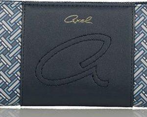Portafoglio similpelle Axel della linea Crossover blu stampato- Chiusura con cerniera - tasche porta carte e documenti - Logo ricamato su dettaglio blu 1101-1160