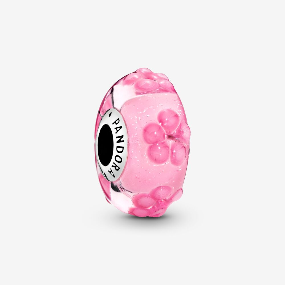 pandora charm vetro rosa