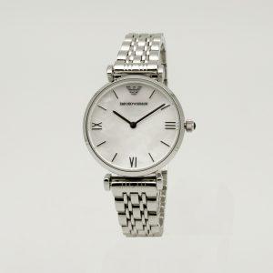 Orologio Armani donna AR1682, Cinturino acciaio, Cassa in acciaio 28 mm, Quadrante bianco, Resistente all'acqua 3 ATM