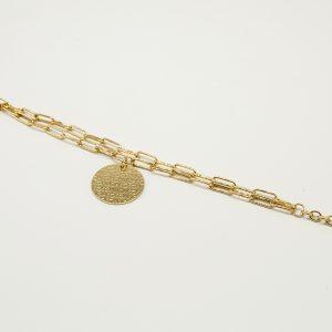 Bracciale Coconuda anallergico 22cm regolabile - multi catena di colore dorato- Medaglia oro di forma tonda con incisione Coconuda. COBR1996
