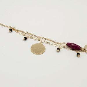 Bracciale Coconuda anallergico 21cm regolabile - multi catena oro pietre nere e pietra allungata prugna- Medaglia oro di forma tonda con incisione Coconuda.