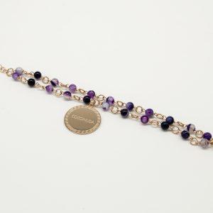 Bracciale Coconuda anallergico 22cm regolabile - multi catena rosè pietre sulle tonalità del viola- Medaglia rosè di forma tonda con incisione Coconuda.