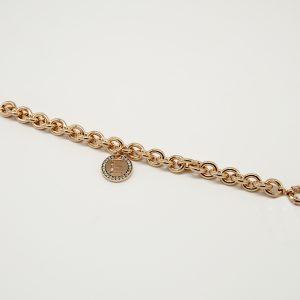 Bracciale 20cm regolabile Peñaranda anallergico maglia a catena grumetta grossa rosè,Medaglia con Iniziale con zirconi chiusura a moschettone rosè.