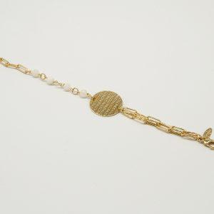Bracciale Coconuda anallergico 21cm regolabile - multi catena oro pietre piccole bianche- Medaglia oro di forma tonda con incisione Coconuda. cobr1993