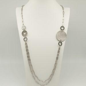Collana Donna rodiata 90cm regolabile- cerchi e medaglie piccole - Medaglia acciaio di forma tonda con incisione Coconuda- Made in Italy coch1996