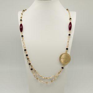 Collana Donna dorato 95cm regolabile- pietre piccole nere e pietre allungate bordò - Medaglia oro di forma tonda con incisione Coconuda