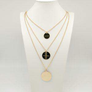 collana Donna laminata oro a 3 fili-di diversa lunghezza - medaglie oro di forma tonda con incisione Coconuda- Made in Italy coch2019