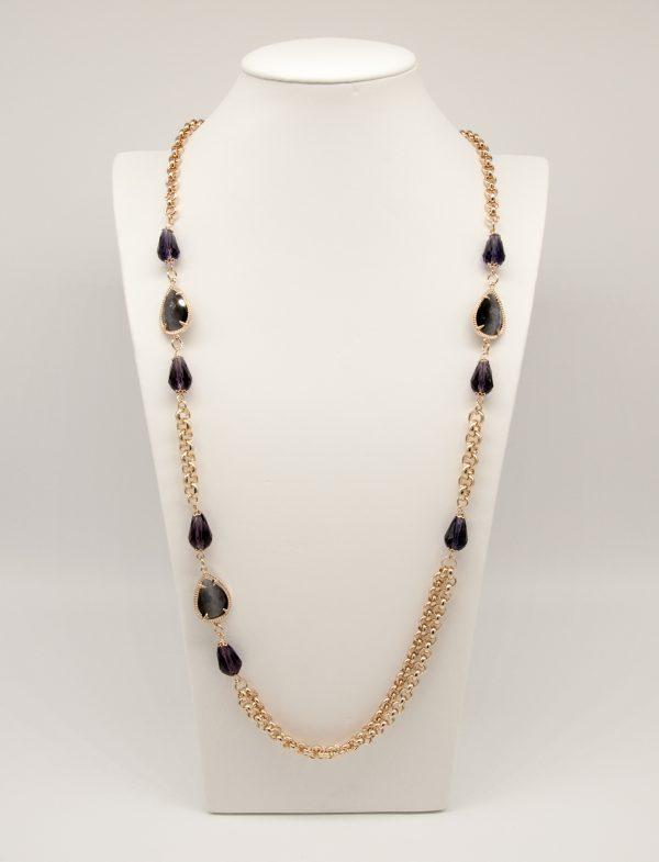 Collana 92cm regolabile catena piccola - Pietre sfaccetate di colore viola e pietre sfaccettate a goccia di colore grigio.