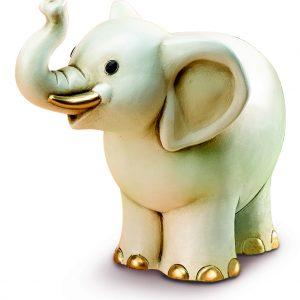Elefante grande Egan in ceramica con dettagli di colore oro.La speciale lavorazione e decorazione a mano della ceramica li rende unici, originali.