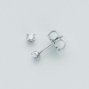 Orecchini punto luce oro 750/1000, 2 diamanti KT0,04 taglio brillante rotondo. Colore G ed infine chiusura a vite.Microfusione