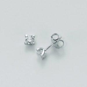 Orecchini punto luce oro 750/1000, 2 diamanti KT0,40 taglio brillante rotondo. Colore H ed infine chiusura a vite.Microfusione