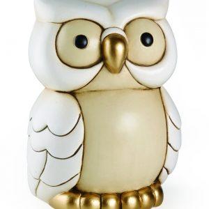 Gufo grande Egan in ceramica con dettagli di colore oro.La speciale lavorazione e decorazione a mano della ceramica li rende unici, originali.