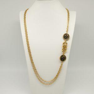 Collana Donna dorata- catene rolò - catena grumetta grossa tra due medaglie stampate con logo- Made In italy