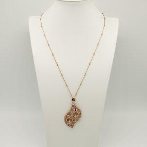 Collana 63cm regolabile con catena maglia rolò piccola e perline rosè ed infine pendente lavorato rosè e argento satinato