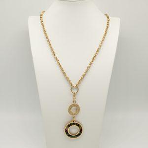 Collana Donna dorata- catene rolò -cerchio lavorato e Medaglia stampata con logo - Il prodotto è spedito con scatola, shopper e garanzia Originali Gattinoni.