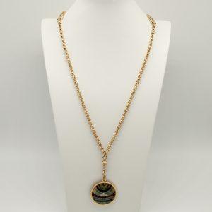 Collana Donna dorata- catene rolò - Medaglia stampata con logo - Il prodotto è spedito con scatola, shopper e garanzia Originali Gattinoni.