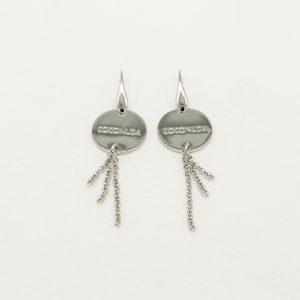 Orecchini Donna rodiati con gancio ad amo - catenine pendenti acciaio - Medaglia acciaio di forma tonda con incisione Coconuda coor2019
