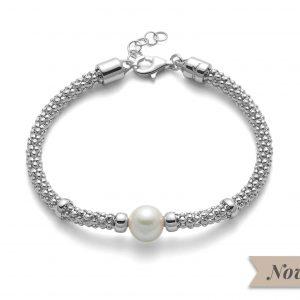 Bracciale 19cm regolabile fino a 21cm in argento 925/1000 con chiusura a moschettone. Perla bianca coltivata misura 9-9,5.PBR3026B