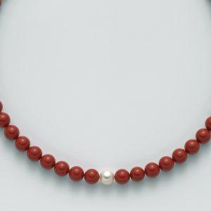 collana agglomerato corallo rosso mm10 - perla bianca mm. 9,5-10 argento 925/1000 -oro 750/1000- microfusione