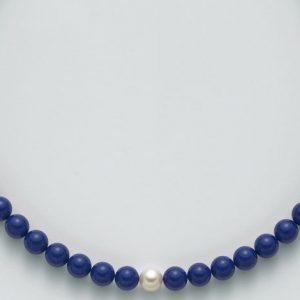 collana agglomerato lapislazzuli mm10 - perla bianca mm9,5-10 argento 925/1000 -oro 750/1000- microfusione