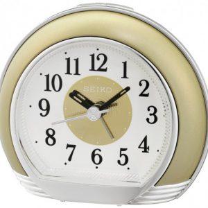 Orologio Sveglia analogico plastica oro nero movimento quarzo. Quadrante bianco con lancette nere. Dotata di funzione allarme e luce, compreso di pila.