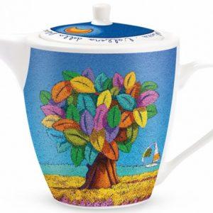 Teiera albero della felicità in ceramica dipinta a mano.La speciale lavorazione e decorazione a mano della ceramica rende il prodotto unico, originale.