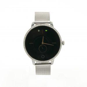 Smartwatch Donna strass,cassa acciaio quadrante nero, cinturino maglia milano funzioni,Avviso di chiamata,Pedometro,Cardio Sveglia,Calorie,Distanza.