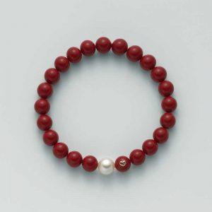 bracciale-miluna-agglomerato turchese- mm. 8 - argento e oro con cuoricino - 1 perla colore bianco mm.8,5-9