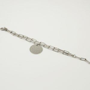 Bracciale Coconuda anallergico 22cm regolabile - multi catena di colore acciaio- Medaglia acciaio di forma tonda con incisione Coconuda. COBR1996
