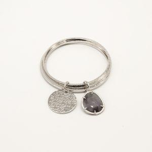 Bracciale Coconuda anallergico rigido a 3 cerchi - Pietra Grigia Pendente - Medaglia acciaio di forma tonda con incisione Coconuda. cobr2029