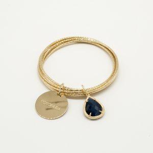Bracciale Coconuda anallergico rigido a 5 cerchi - Pietra a goccia blu Pendente - Medaglia oro di forma tonda con incisione Coconuda. cobr2030