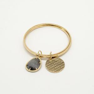 Bracciale Coconuda anallergico rigido a 3 cerchi - Pietra Grigia Pendente - Medaglia oro di forma tonda con incisione Coconuda. cobr2029