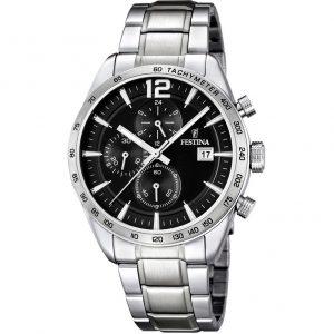 Orologio Cronografo Uomo Festina,cassa acciaio 43 millimetri,il quadrante nero con indici e lancette in acciaio ,5 atm.