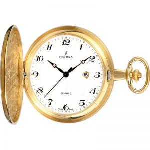 Orologio dorato da tasca Uomo Festina,cassa acciaio dorato 49 millimetri,il quadrante bianco con indici e lancette nere, meccanismo svizzero.