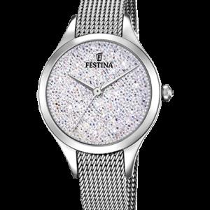 Orologio Donna Festina cassa acciaio forma rotonda il quadrante è bianco con Swarovski certificati con lancette acciaio 5 atm cinturino acciaio maglia milano.